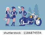 cool rocker boy in a biker... | Shutterstock .eps vector #1186874554