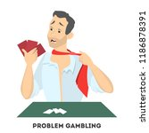 gambling addiction. upset man... | Shutterstock .eps vector #1186878391