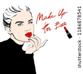 fashion woman sketch woman in... | Shutterstock .eps vector #1186878541