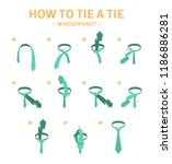 how to tie a windsor knot tie... | Shutterstock .eps vector #1186886281