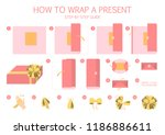 how to wrap a present step by...   Shutterstock .eps vector #1186886611