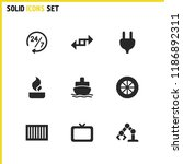 industrial icons set with tv ...