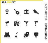 sunny icons set with building ...