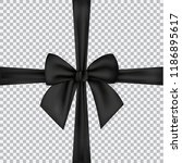 black silk ribbons and bow... | Shutterstock .eps vector #1186895617