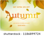 autumn lettering on natural ... | Shutterstock .eps vector #1186899724