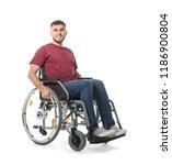 happy young man in wheelchair... | Shutterstock . vector #1186900804
