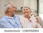 romantic senior couple laughing ... | Shutterstock . vector #1186902004