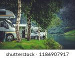 scenic rv park camping.... | Shutterstock . vector #1186907917