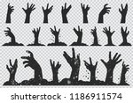 Zombie Hands Black Silhouette....