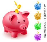five colorful piggy banks.... | Shutterstock .eps vector #118691449