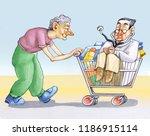 elderly woman pushes schopping... | Shutterstock . vector #1186915114