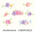 hand painted watercolor floral...   Shutterstock . vector #1186915621