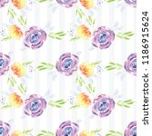 hand painted watercolor floral...   Shutterstock . vector #1186915624