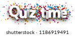 quiz time poster with colorful... | Shutterstock .eps vector #1186919491