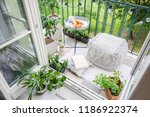 top view of a balcony with... | Shutterstock . vector #1186922374