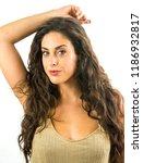 beautiful woman on white... | Shutterstock . vector #1186932817