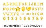 set of golden number and letter ... | Shutterstock .eps vector #1186952014