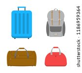 bags set with suitcase and... | Shutterstock .eps vector #1186959364