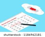 a calendar with the menstrual... | Shutterstock .eps vector #1186962181