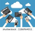 cloud computing concept. hands... | Shutterstock .eps vector #1186964011