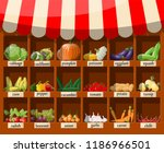 wooden supermarket shelf with... | Shutterstock .eps vector #1186966501