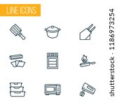 cook icons line style set with... | Shutterstock .eps vector #1186973254