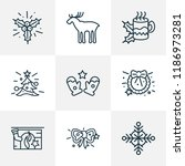 happy icons line style set with ... | Shutterstock . vector #1186973281