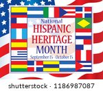 hispanic heritage month with... | Shutterstock .eps vector #1186987087