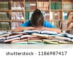 student studying hard exam and... | Shutterstock . vector #1186987417