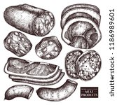 vector collection of meat... | Shutterstock .eps vector #1186989601