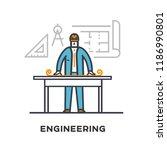 builder drawing a building plan.... | Shutterstock .eps vector #1186990801