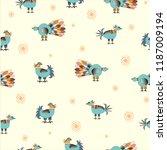 seamless pattern with birds | Shutterstock .eps vector #1187009194