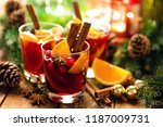 christmas mulled red wine with...   Shutterstock . vector #1187009731