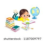 little girl is reading a book.... | Shutterstock .eps vector #1187009797