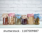 jars with fermented food... | Shutterstock . vector #1187009887