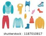 vector flat cold weather  ... | Shutterstock .eps vector #1187010817