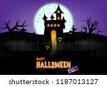 happy halloween pumpkins with... | Shutterstock .eps vector #1187013127