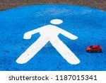 a red toy car hits the ... | Shutterstock . vector #1187015341