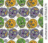 bright skulls. seamless vector... | Shutterstock .eps vector #1187016274