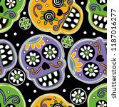 bright skulls. seamless vector... | Shutterstock .eps vector #1187016277