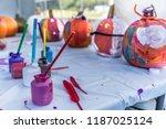 halloween pumpkins painting in... | Shutterstock . vector #1187025124