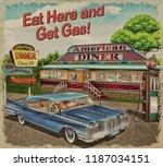 diner vintage poster. | Shutterstock . vector #1187034151