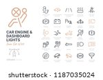 car engine and dashboard lights ... | Shutterstock .eps vector #1187035024