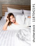 sexy asian woman on the bed. | Shutterstock . vector #1187042191