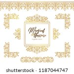 vector set of golden seamless... | Shutterstock .eps vector #1187044747