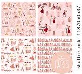 set of cute seamless pattern... | Shutterstock .eps vector #1187050537