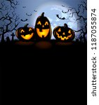 halloween background with three ... | Shutterstock .eps vector #1187055874