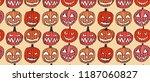 pattern with set of halloween... | Shutterstock . vector #1187060827