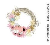 autumn wreath illustration on... | Shutterstock .eps vector #1187061931