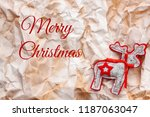a felt reindeer with a red... | Shutterstock . vector #1187063047